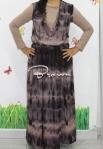 baju hamil menyusui long dress yui brown front