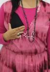 baju hamil menyusui long dress yui pink opening